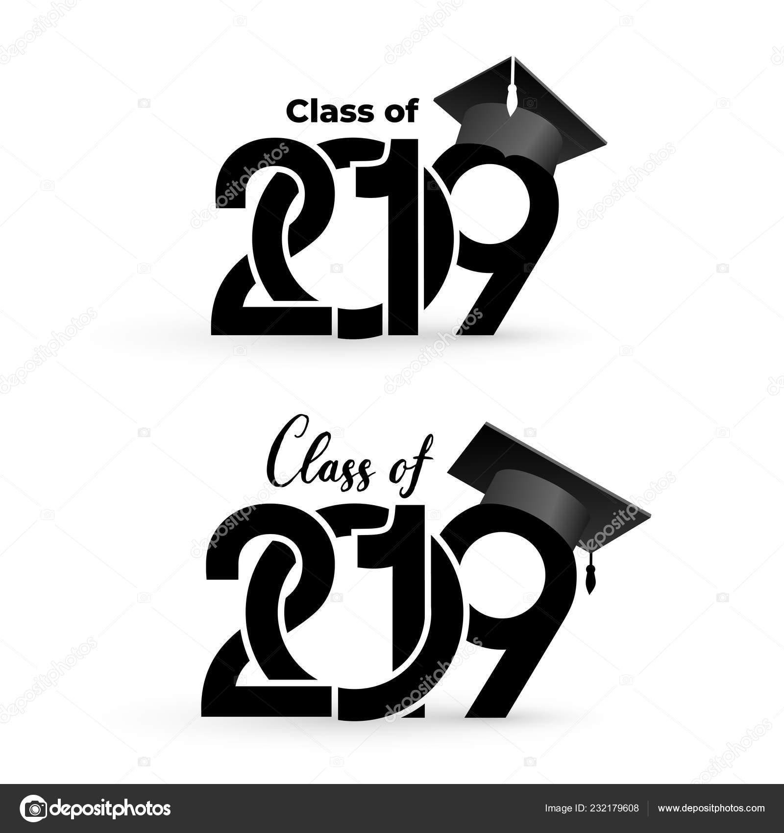Class 2019 Graduation Cap Text Design Pattern Vector ...