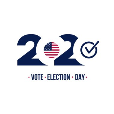 2020 United States of America Presidential election. Design logo. Vector illustration. Isolated on white background.