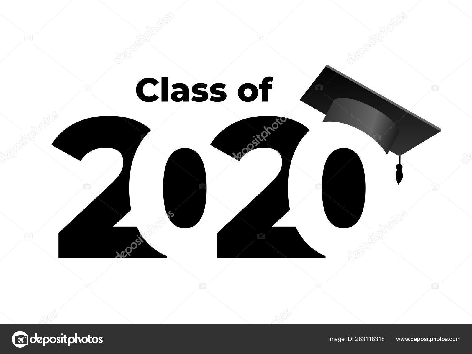 Class 2020 Graduation Cap Text Flat Design Pattern Vector ...