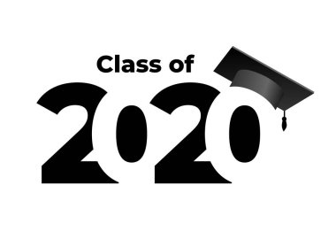 Class of 2020 with graduation cap. Text flat design pattern. Vector illustration. Isolated on white background.