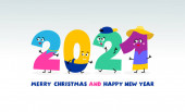 Jednoduché děti ploché barevné číslo 2021 Šťastný Nový rok design. Barevný text 2021 pro šablonu pro děti. Vektorová ilustrace. Izolováno na bílém pozadí.
