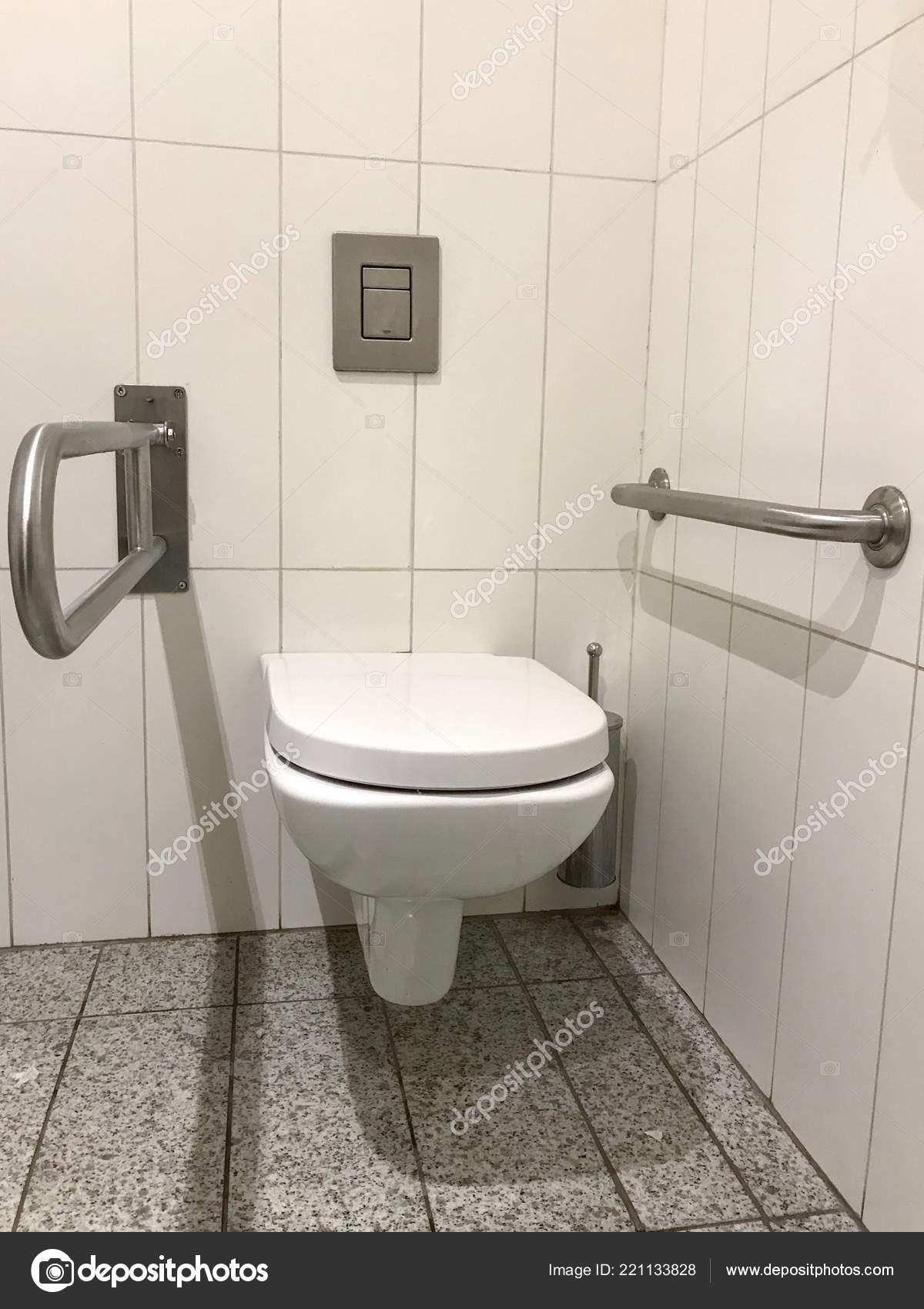 Handicapped Access Bathroom Grab Bars Toilet — Stock Photo