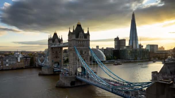 time lapse London skyline with illuminated Tower bridge in sunset time, UK