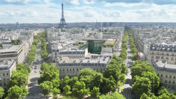 panoramic view of Paris, Champs Elysees and the Eiffel Tower