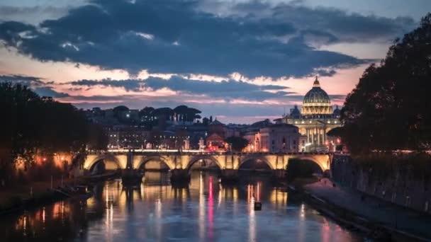 hyper lapse of St. Peters Basilica, Sant Angelo Bridge, Vatican, Rome, Italy