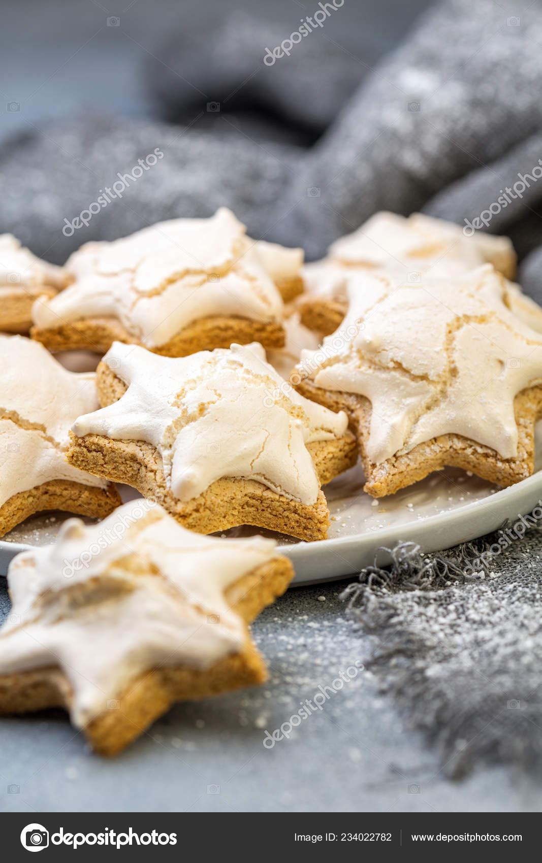 Homemade German Cinnamon Cookies Shape Star Plate Gray Concrete