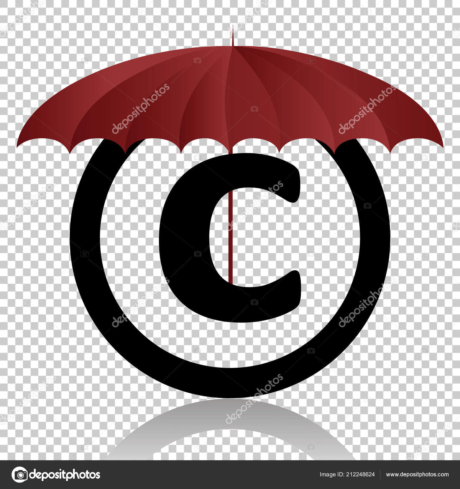 Copyright Symbol Protection Isolated Transparent Background Black
