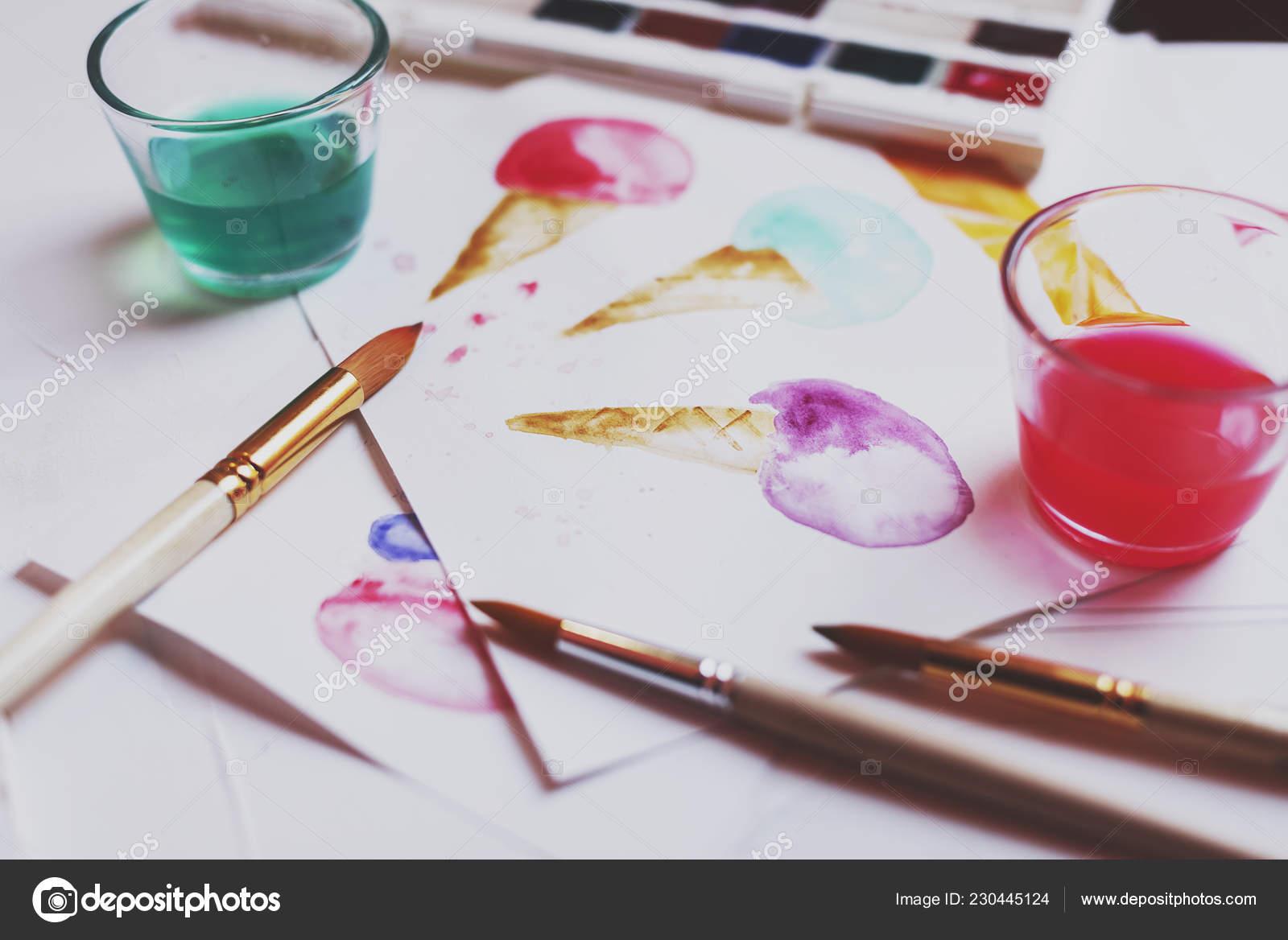 Palette Watercolor Paints Drawns Brushes Close Stock Photo