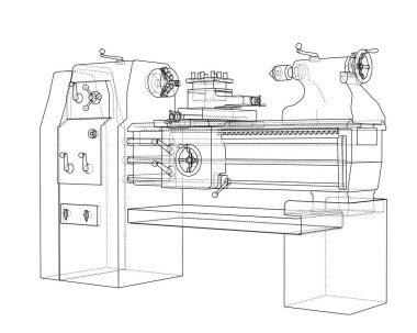 Lathe concept. Vector rendering of 3d