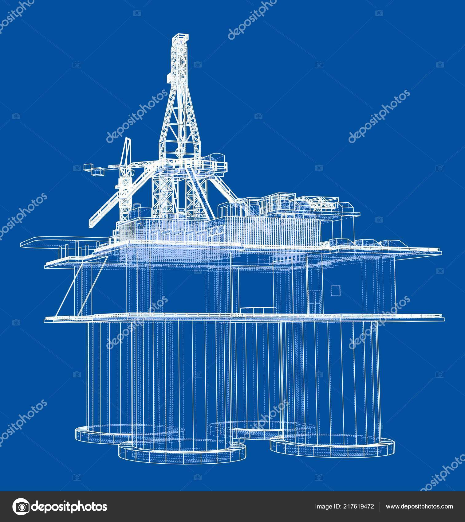 Offshore oil rig drilling platform concept — Stock Vector