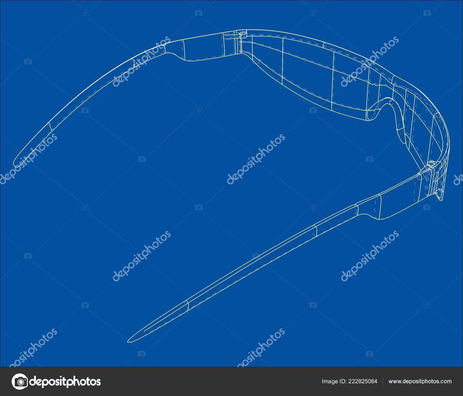b0c8035ba4 VR Virtual Reality Glasses Concept. Vector rendering of 3d. Wire-frame  style. The layers of visible and invisible lines are separated — Vector by  cherezoff