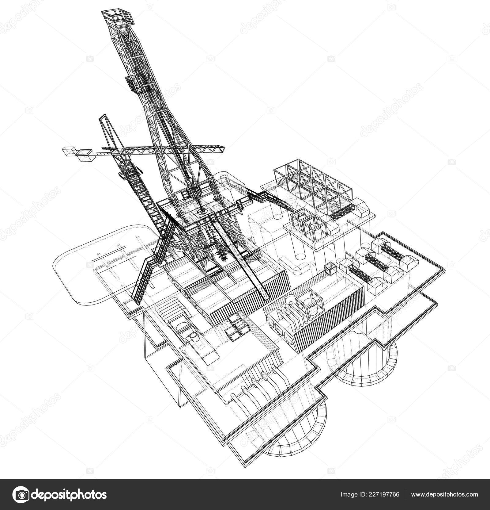 Offs oil rig drilling platform concept. Vector — Stock ... Ocean Drilling Rig Schematic Diagram on