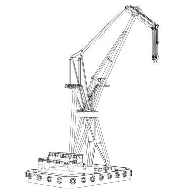 Floating crane. Vector