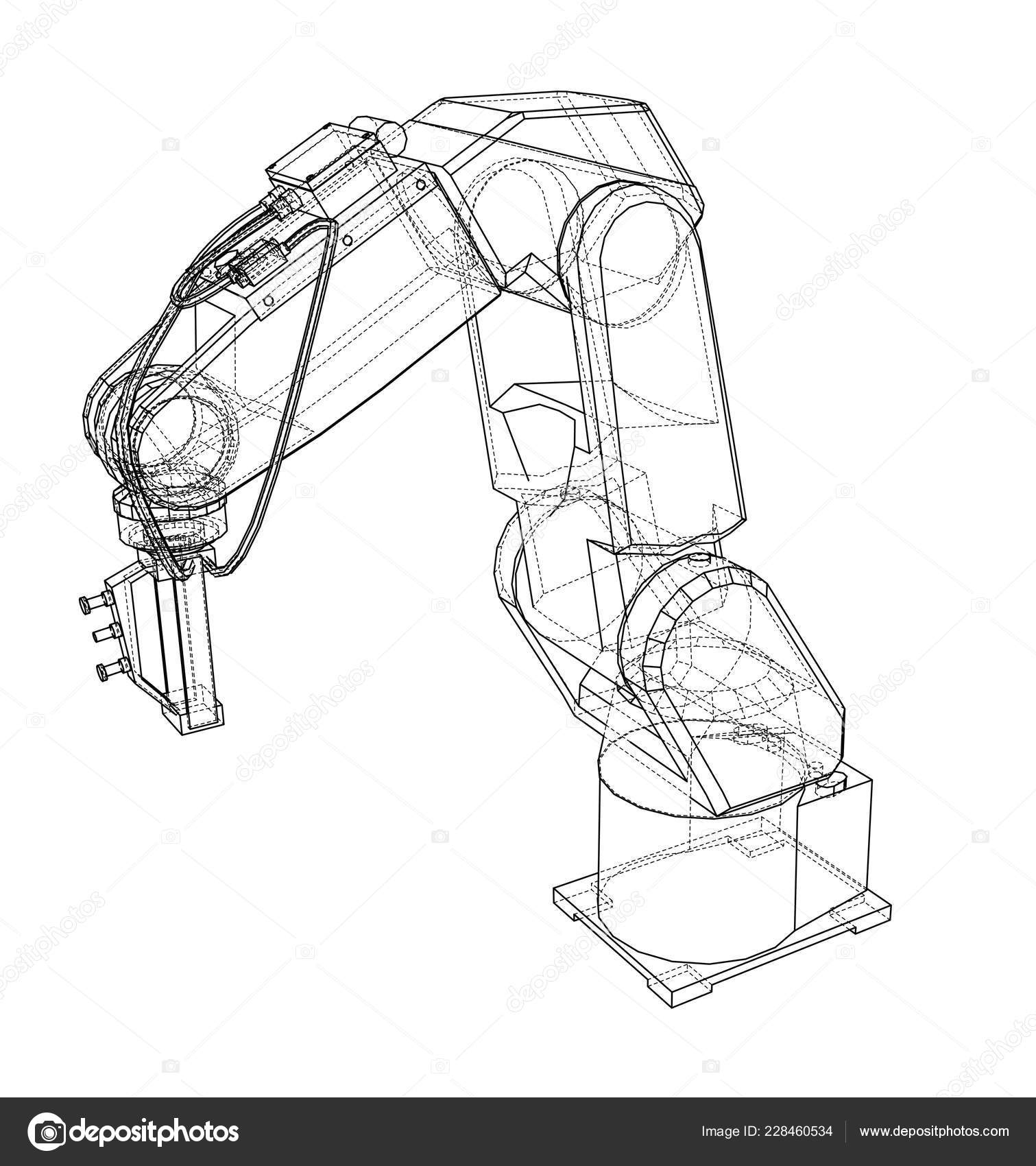 3D outline Robotic arm  Vector rendering of 3d — Stock Vector