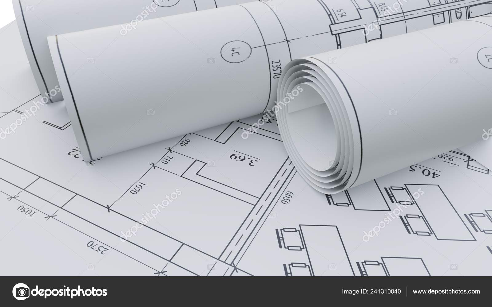Architectural drawings  Flat and rolled — Stock Photo
