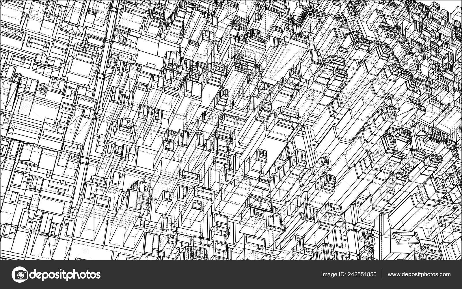 Wire-frame City, Blueprint Style — Stock Vector © cherezoff