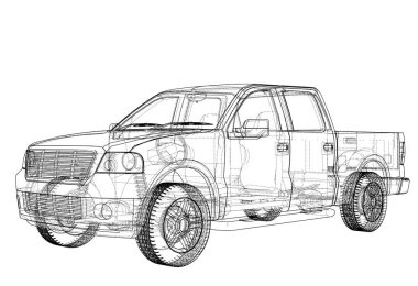 Vector car silhouettes. Rendering of 3d