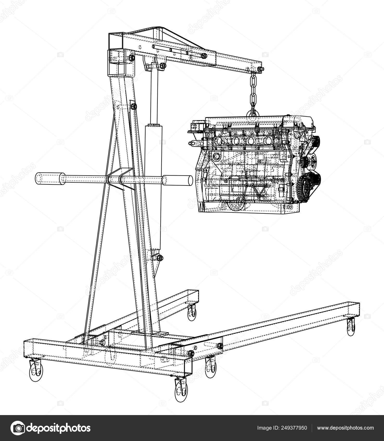 Engine hoist with engine outline — Stock Vector © cherezoff #249377950Depositphotos