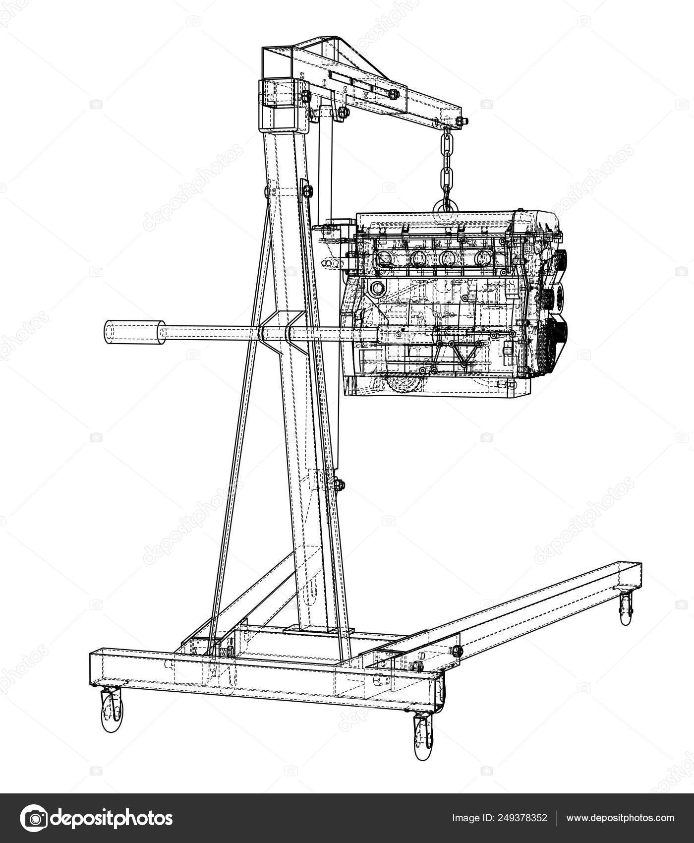engine hoist with engine outline — stock vector