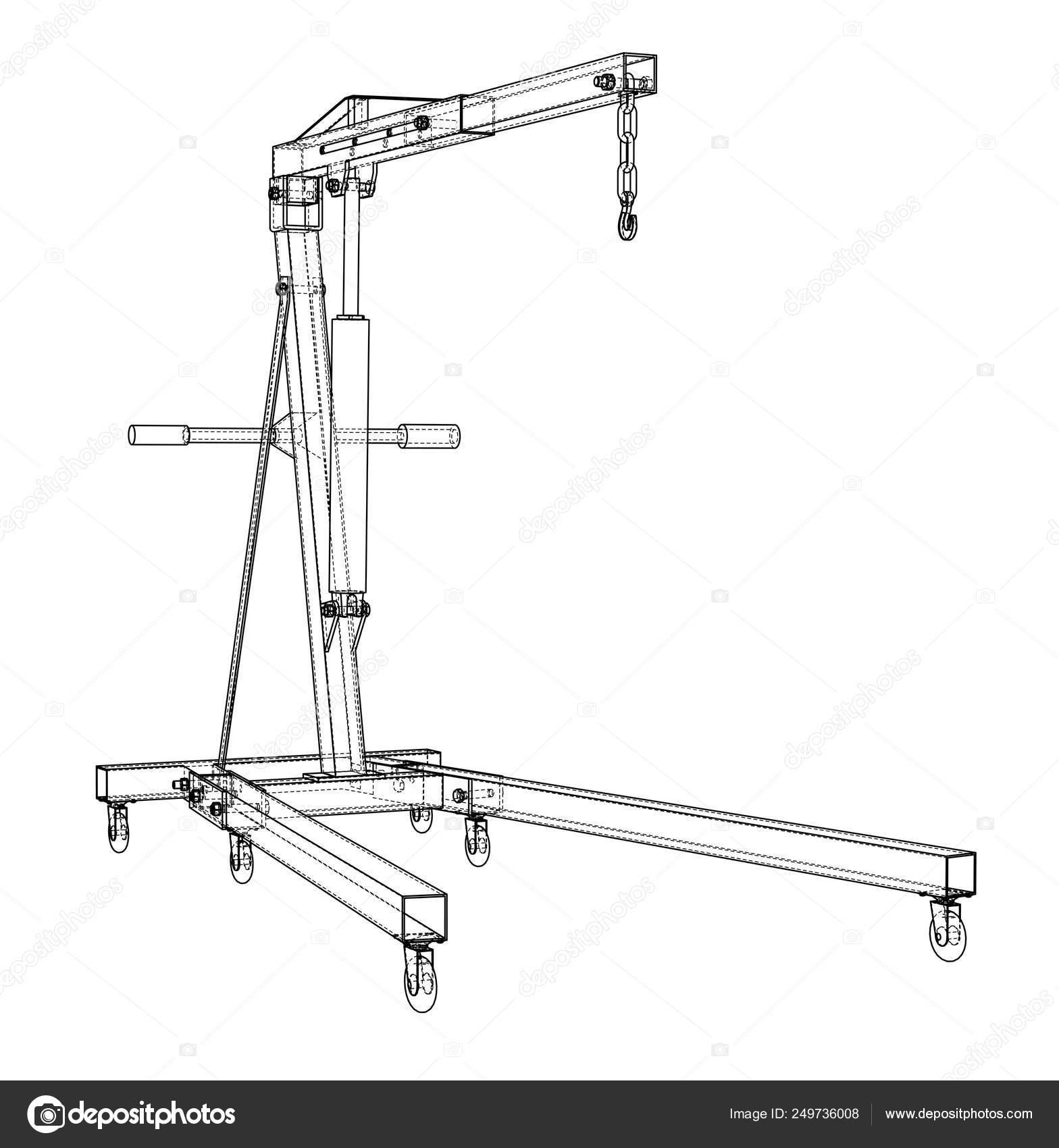 Engine hoist outline. Vector rendering of 3d — Stock Vector © cherezoff  #249736008Depositphotos