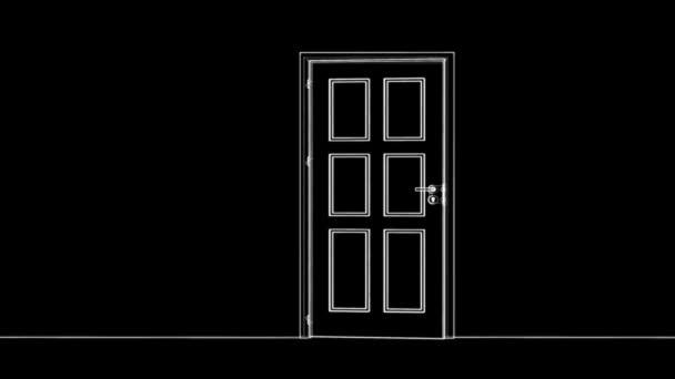 Sketch of opening wire-frame door