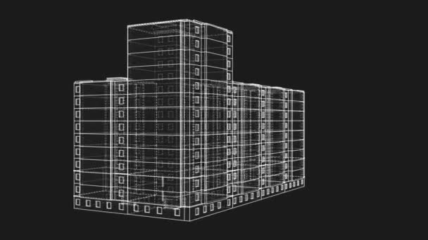 Animated rotation of a multi-storey building. Architectural concept