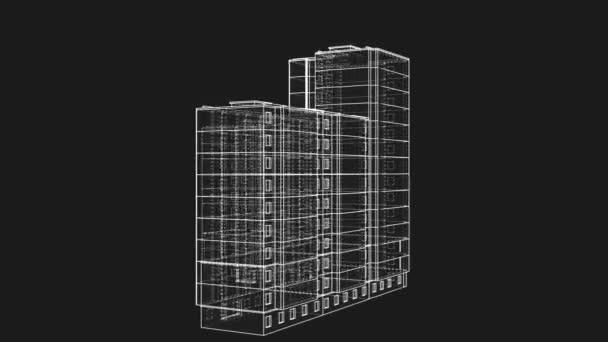 Animovaná rotace vícepodlažní budovy. Architektonický koncept