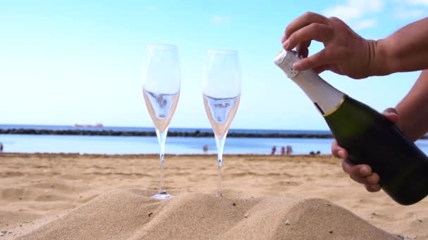 champagne on beach