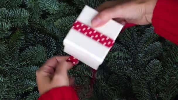 Vánoční dar dávat - něčí ruku v červený pletený svetr obtékání bílá Dárková krabice s červenou stužkou