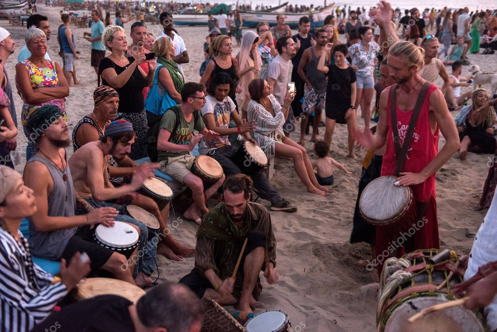 Drum circle in Goa. People play together. India, GOA. 15.01.2018