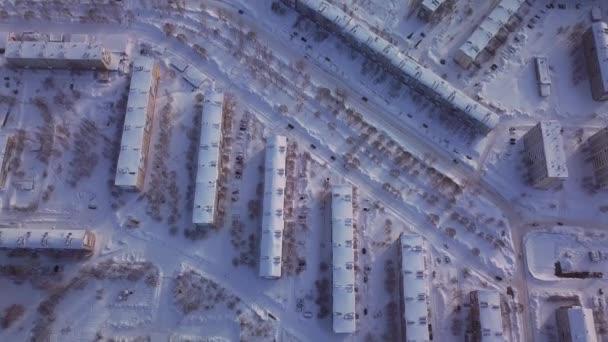 Sovětské domy ve městě. Pohled z dronu