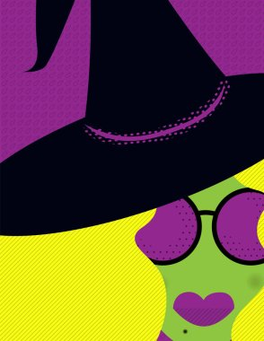 Witch Face Cropped - Cropped illustration of a blonde witch wearing a hat