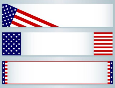 USA Flag banners-Three banners using elements of the USA (American) flag; use for July 4th, Memorial Day, Veterans Day, Presidents Day, September 11th or for general or voting purposes