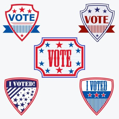 Voting badges featuring VOTE and I Voted text