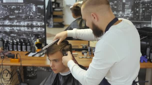 Hairdresser Men Barbershop Young Guy Gets Haircut Hair Care Service