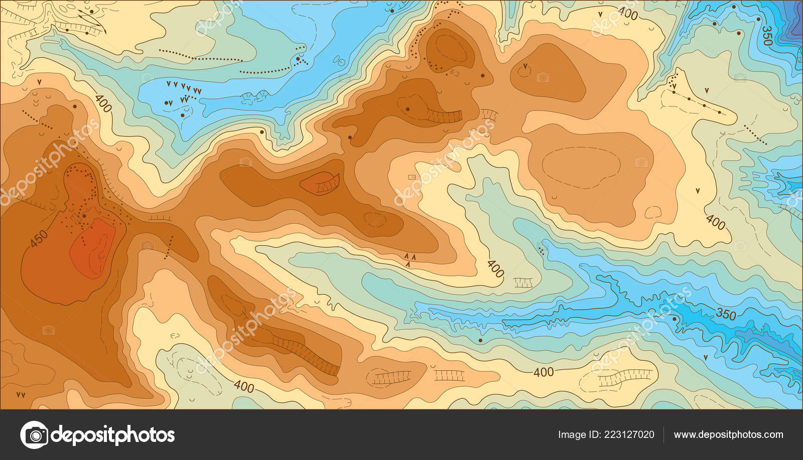 Abstract Detailed Color Vector Topographic Elevation Map Stock