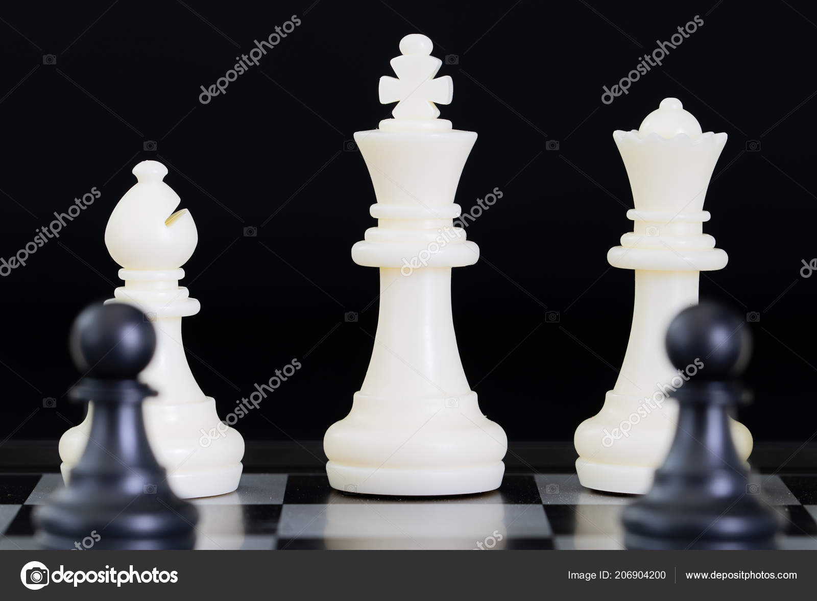Close Chess Pieces Chessboard Set Chess Figures Playing