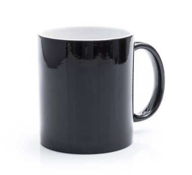 Black cup on white