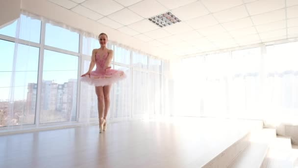 Superb female ballet dancer in pink tutu practicing and smiling