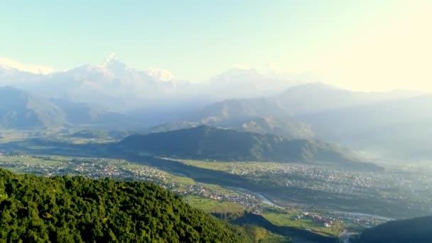 Aerial survey of mountain landscape