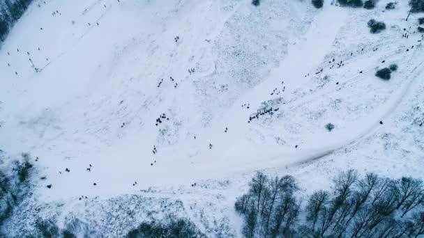 Letecké záběry z místa pro lyžování v blízkosti lesa
