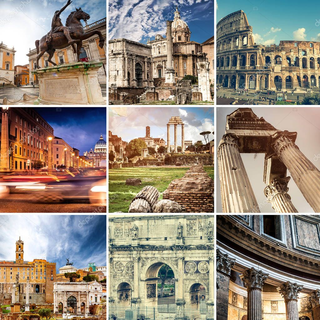 Collage of sights of Rome