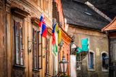 Stará budova s českými vlajkami v Českém Krumlově