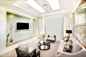 Living room interior design of a modern house with perfect light