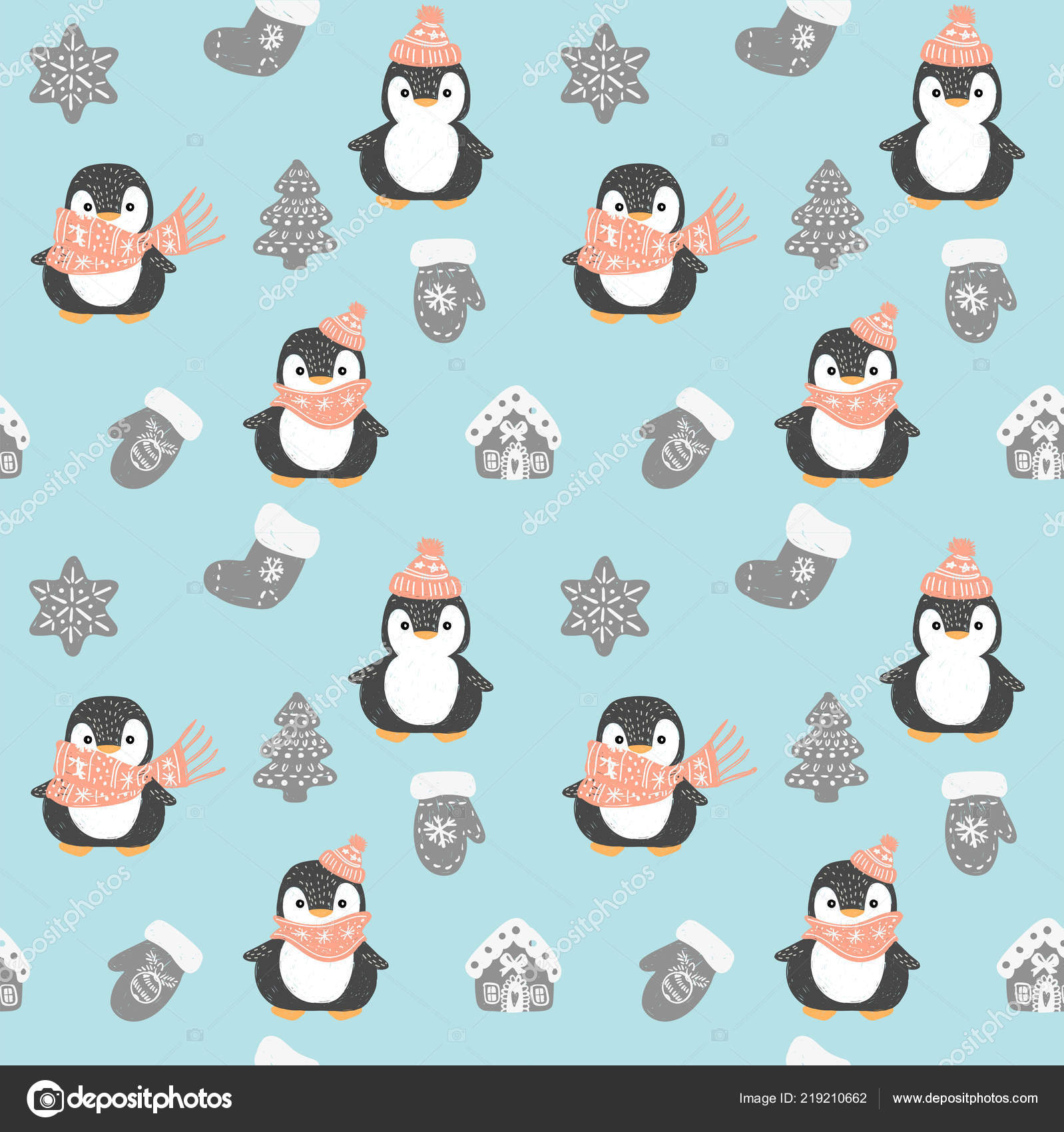 Penguin Seamless Pattern Cute Penguins Red Christmas Hat