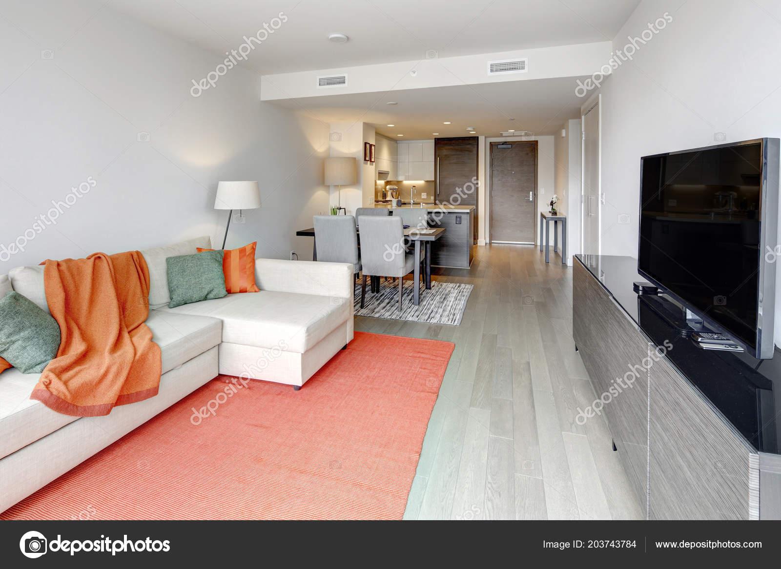 Contemporary apartment design open floor plan seattle northwest usa stock photo