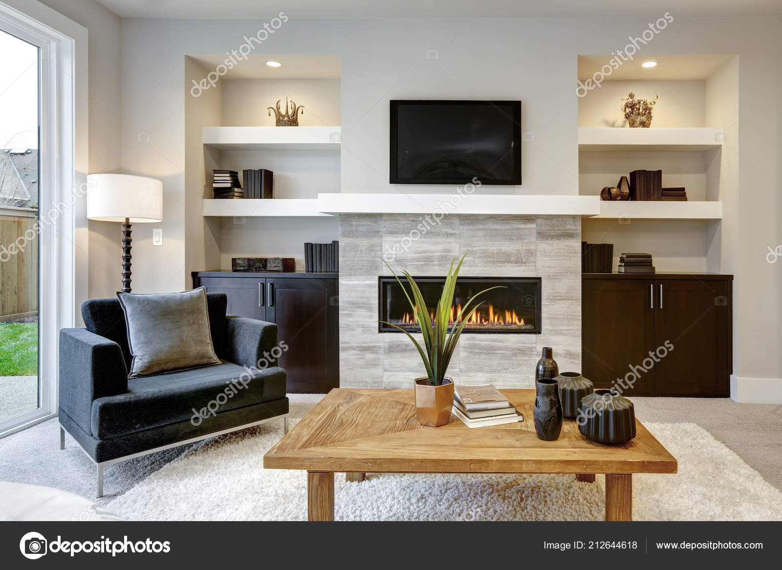 Beautiful Modern Living Room Interior Stone Wall Fireplace Luxury ...