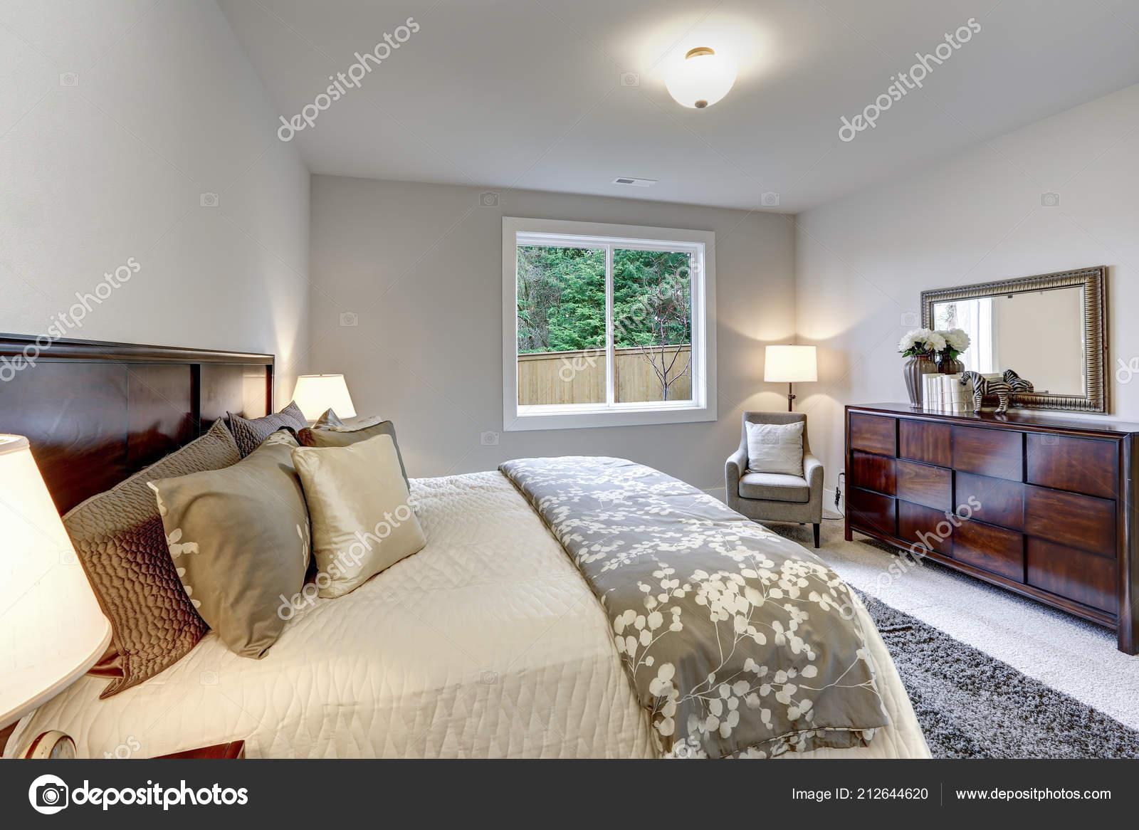 Light Modern Master Bedroom Interior Darkwood Bed Dress Stock Photo C Iriana88w 212644620