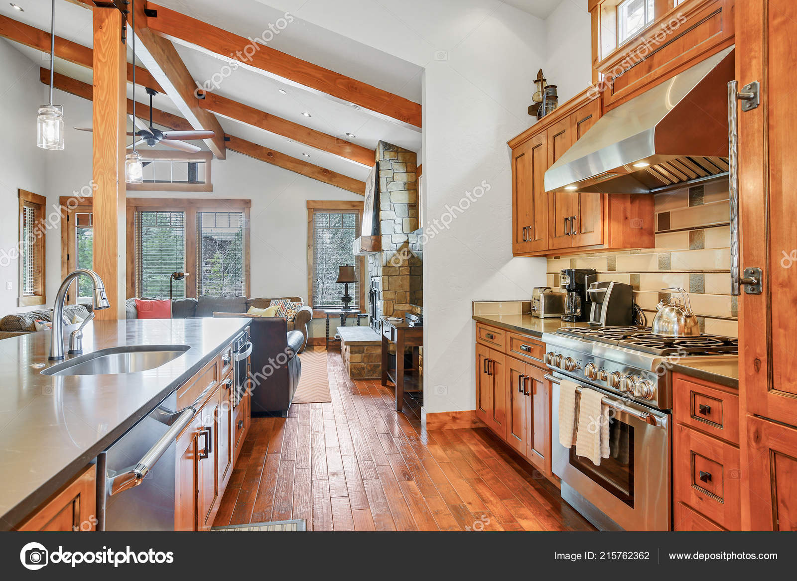 Pictures Vaulted Ceilings With Wood Beams Open Kitchen