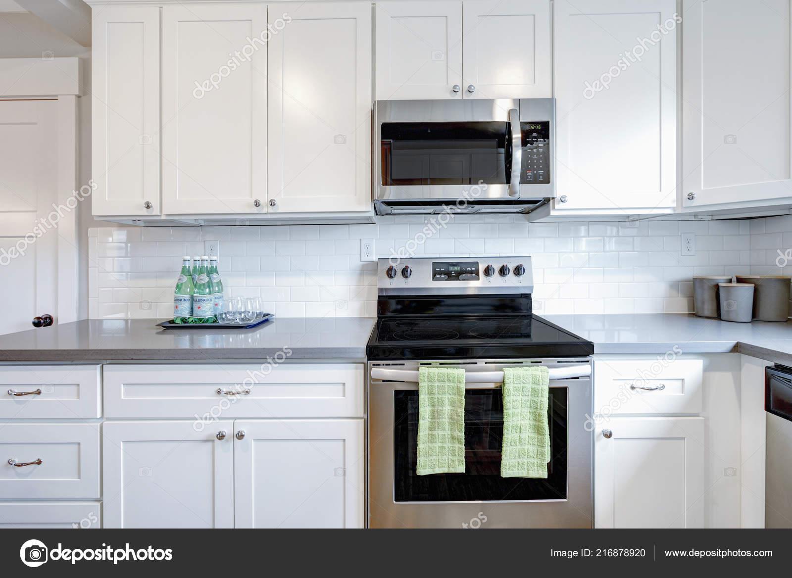 White Gray Kitchen Room Modern Stainless Steel Appliances